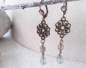 Antiqued Chandelier dangle fire polished Czech glass beads earrings Vintage style