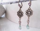 Antiqued Chandelier dangle fire polished Czech glass beads earrings Vintage style