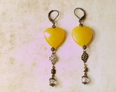 Yellow Faceted Heart Crystal Drop Dangle Earrings  Antique Brass Shabby Chic Jewelry
