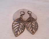 Birch Leaf Drop Earrings in Antiqued Bronze Shabby Chic Rustic Boho Jewelry