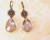 Antique Bronze and Faceted Crystal Drop Gemstone Dangle Earrings Shabby Chic Boho Bride Jewelry