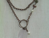 Rose Quartz Pendant Necklace - one of a kind - Shabby Chic Rustic Boho Jewelry