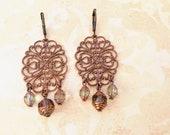 Antiqued Copper Filigree Chandelier Earrings Bohemian boho chic Belle époque