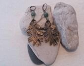 Oak Leaf Drop Earrings in Antiqued Bronze with Fancy Jasper Bead
