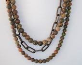 Rustic Boho Chic Smooth Unikite Stone and Copper Chunky Chain Statement Necklace Bohemian Jewelry