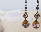 Antiqued Brass Amethyst Purple Crystal Bead Earrings Vintage Style Shabby Chic Boho Bride Jewelry