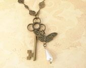 Butterfly, Pearl & Antique Key Charm  Necklace Pendant Boho Shabby Chic