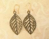 Birch Leaf Drop Earrings in Antiqued Bronze Shabby Chic Rustic Boho Jewelry