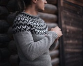 Grey 100% wool sweater / pullover / black, white, rustic / lopapeysa Iceland sweater / for men