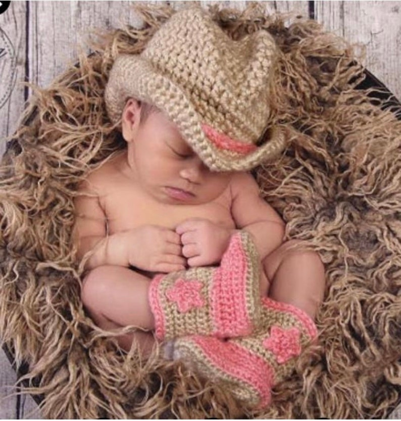 Cowboy Hat and Bootsinfantbaby blue and beige