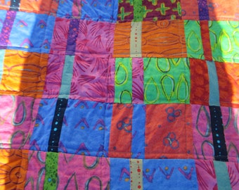 """Handmade Modern Quilt Patchwork with Alison Glass fabrics  Crib or throw 55"""" x 38"""""""
