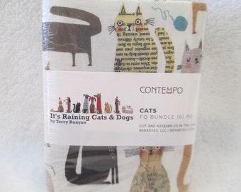 Benartex Cotton Fabric Fat Quarter Bundle Cats by Terry Runyon 6 Fat Quarters with Cats
