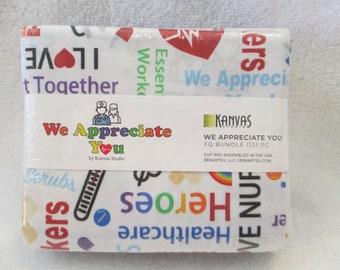 Benartex Cotton Fabric We Appreciate You Fat Quarter Bundle to use for Masks for Health Care Workers 12 FQs