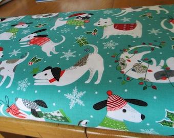 Northcott Cotton Fabric Santa Paws with Dog Paws half yard