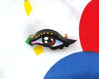 Unique Handmade Eyeball Pin in Brown