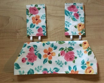 Drool bib and strap covers for front facing baby wearing in water color cottage roses for Beco, Boba, Ergo, Lillebaby