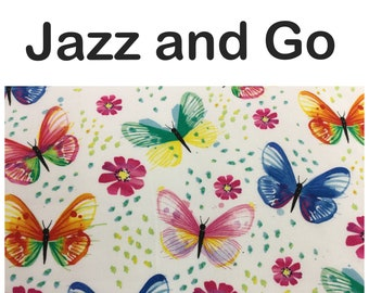 Jazz and Go baby carrier cover and strap pads for baby wearing in watercolor butterfly cotton fabric