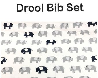 Drool bib and strap covers for front facing baby wearing for Beco, Boba, Ergo, Lillebaby in gray and navy elephants cotton fabric