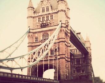 Dreamy London photograph, London art, pastels, England photo, vintage photography - Tower Bridge