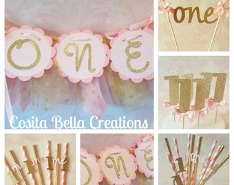 Pink And Gold Birthday Decorationspink 1st Decorations Bannerpink Garland