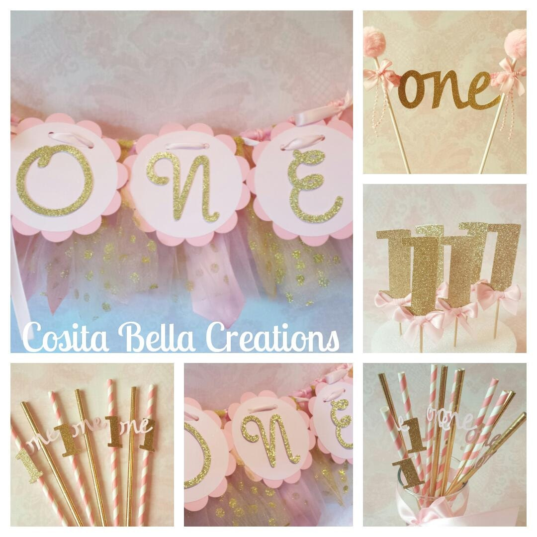 Pink And Gold Birthday Decorationspink 1st