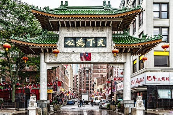 Boston Ma Massachusetts Chinatown Gate Travel Street Scene Art Etsy
