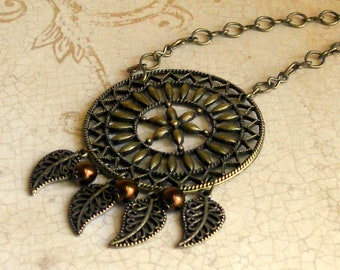 Large Bronze Disc Necklace Boho Pendant Bohemian Medallion Native American Autumn Leaf Antique Dreamcatcher Fashion Jewelry Teen Gift