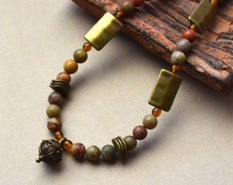 Boho Earth Tone Jasper Beaded Necklace FREE Shipping Antique Bronze Bohemian Casual Tibetan Chic Earthtone Fashion Jewelry PaisleyBeading