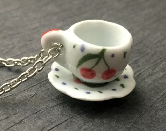 Ceramic Teacup Necklace Dollhouse Tea Cup Miniature Cherries Coffee Lover Pendant Charming Fashion Jewelry FREE Shipping Paisley Beading