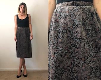 Vintage 1970's Velvet Brown Paisley Patterned High Waist Button up Back Pencil Skirt Size Medium 8