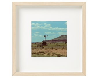 """9"""" x 9"""" White Birch Wood Framed and Matted Original Film Photography 35mm Vintage Wind Mill Amarillo Texas Desert Wall Decor"""
