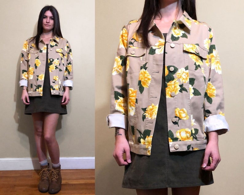 Vintage 1990/'s Khaki Beige Yellow and Green Floral Print Dahlia Flower Button up Jacket Size M 10
