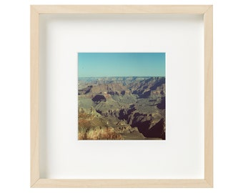 """9"""" x 9"""" White Birch Wood Framed and Matted Original Film Photography 35mm Art Photograph Grand Canyon Arizona National Park Wall Decor"""