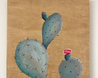 """Original One of a Kind 12"""" x 12"""" Prickly Pear Cactus Acrylic Paintings on Stained Wood Canvas Wall Art Home Decor"""