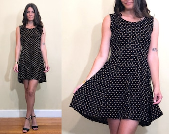 Vintage 1990's Square Pattern Black Sleeveless Cocktail Princess Dress with Tie Back Size 4