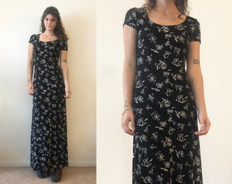 Vintage 1990's Black and White Unique Artistic Patterned BodyCon Scoop neck Maxi Dress Size S Tall