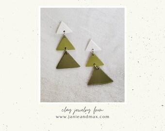 Mod Christmas   Modern Triangle Christmas Tree Earrings