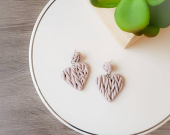 Sweater Weather Love   Sweater Knit Polymer Clay Earrings