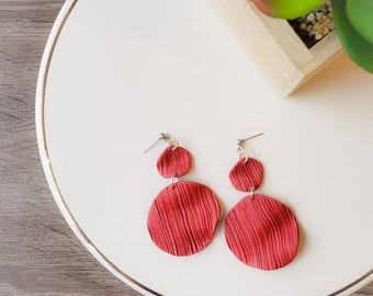 Rose Petal   Wavy Red Petal Earrings   Polymer Clay Jewelry