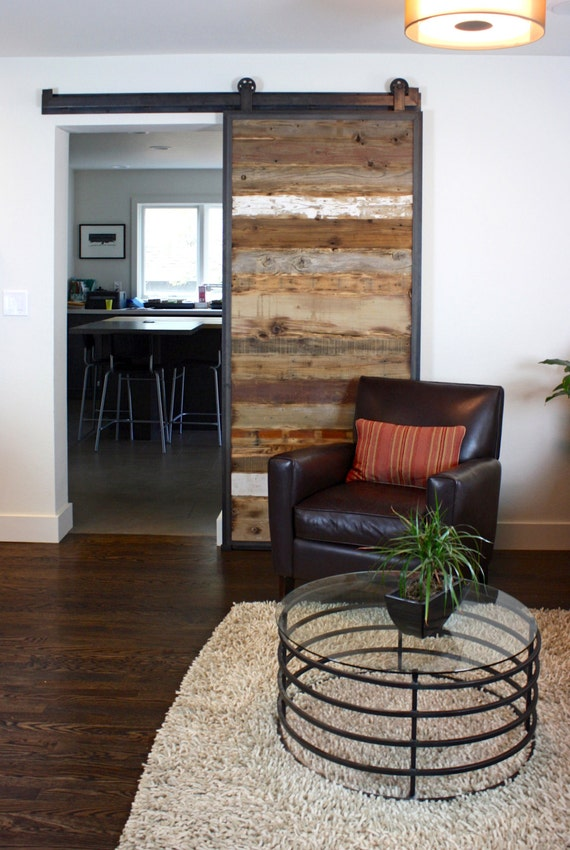 Barn Doors In Reclaimed Wood Tracks Included Etsy