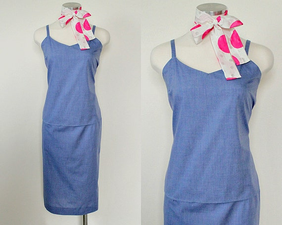 1940s Vintage Cornflower Blue Wiggle Pencil Skirt