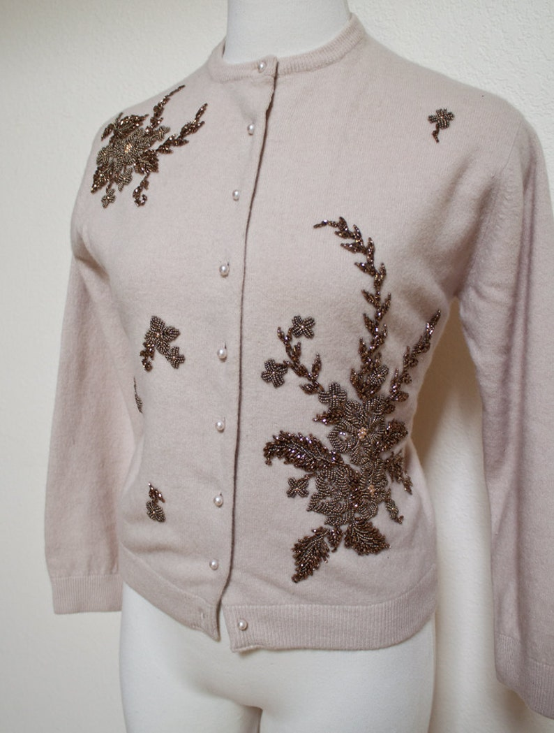 1950s Vintage Beige Hand Beaded Angora Wool Cardigan Sweater with Pearl Buttons Pin Up Copper Flowers Creations by Harilela/'s Size 38