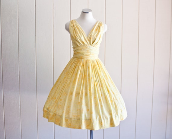 1950s Vintage Yellow Butterfly Print Princess Tea
