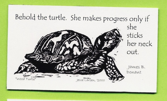 Items Similar To Magnet Wildlife Turtle Block Print By Jesse Larsen With Quote By James Donant Behold The Turtle She Makes Progress Only If On Etsy