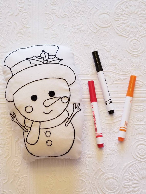 Mini 'colour me' snowman pillow.