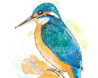 Little Kingfisher 21cm x 29.5cm Watercolour print