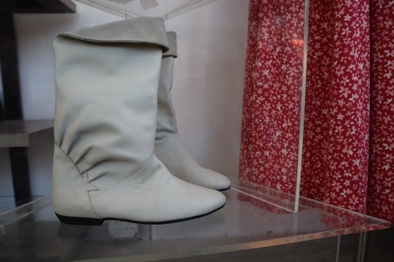 80s white leather boots 28059