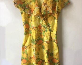 70s floral tea party dress