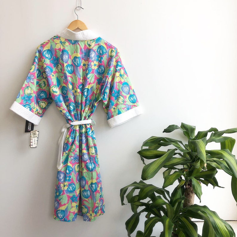 NOS 90s floral robe with pockets