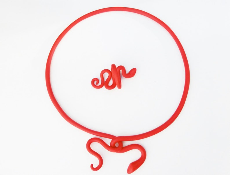 Red snake ring flexible polymer clay ring can bend out crefully small medium size